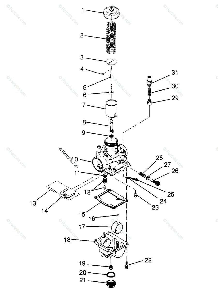 Polaris ATV 1994 OEM Parts Diagram for Carburetor 6X6 400L