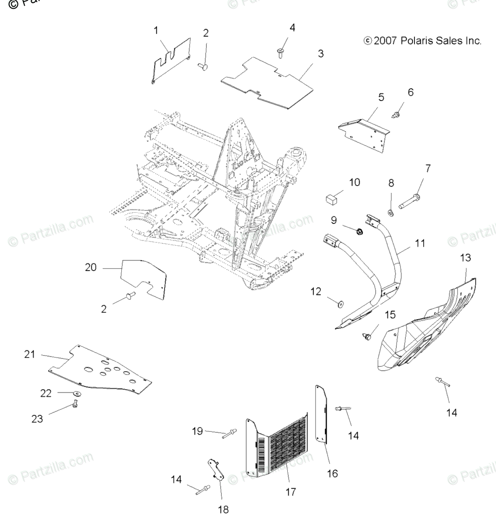 Polaris ATV 2008 OEM Parts Diagram for Chassis, Front