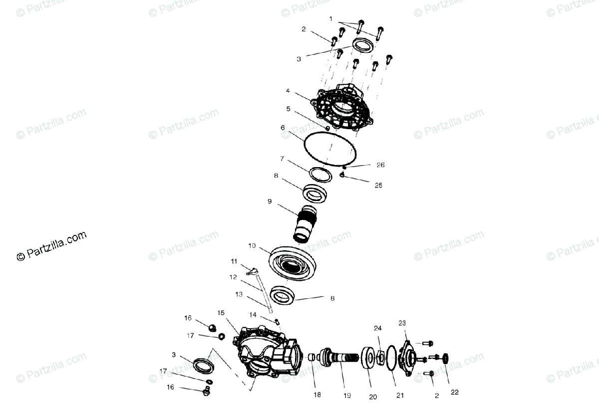 Polaris ATV 2000 OEM Parts Diagram for Rear Housing