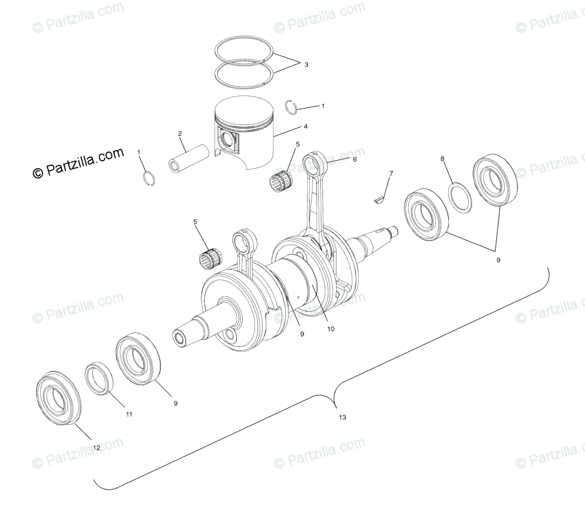 Polaris Snowmobile 2003 OEM Parts Diagram for Piston