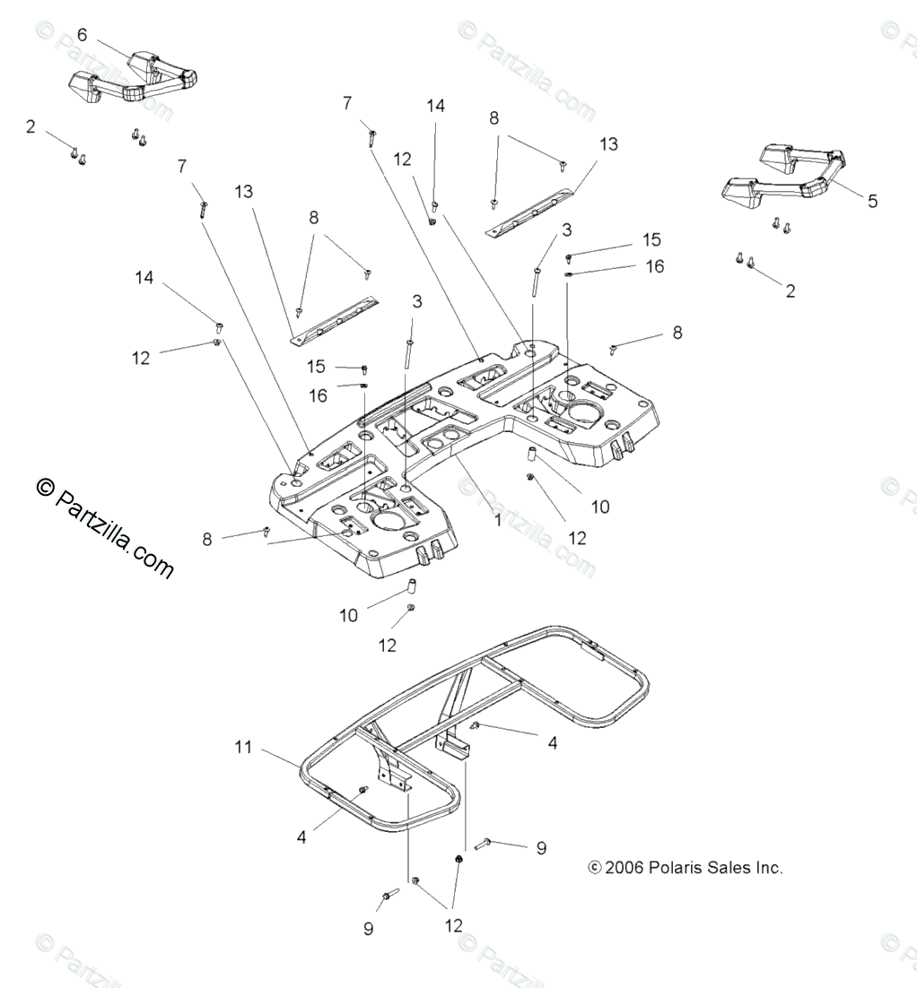 Polaris ATV 2008 OEM Parts Diagram for Body, Rear Rack Asm
