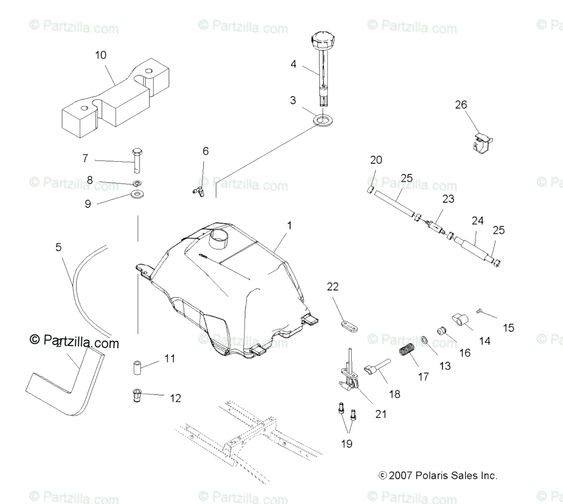 Polaris ATV 2009 OEM Parts Diagram for Body, Fuel Tank Asm