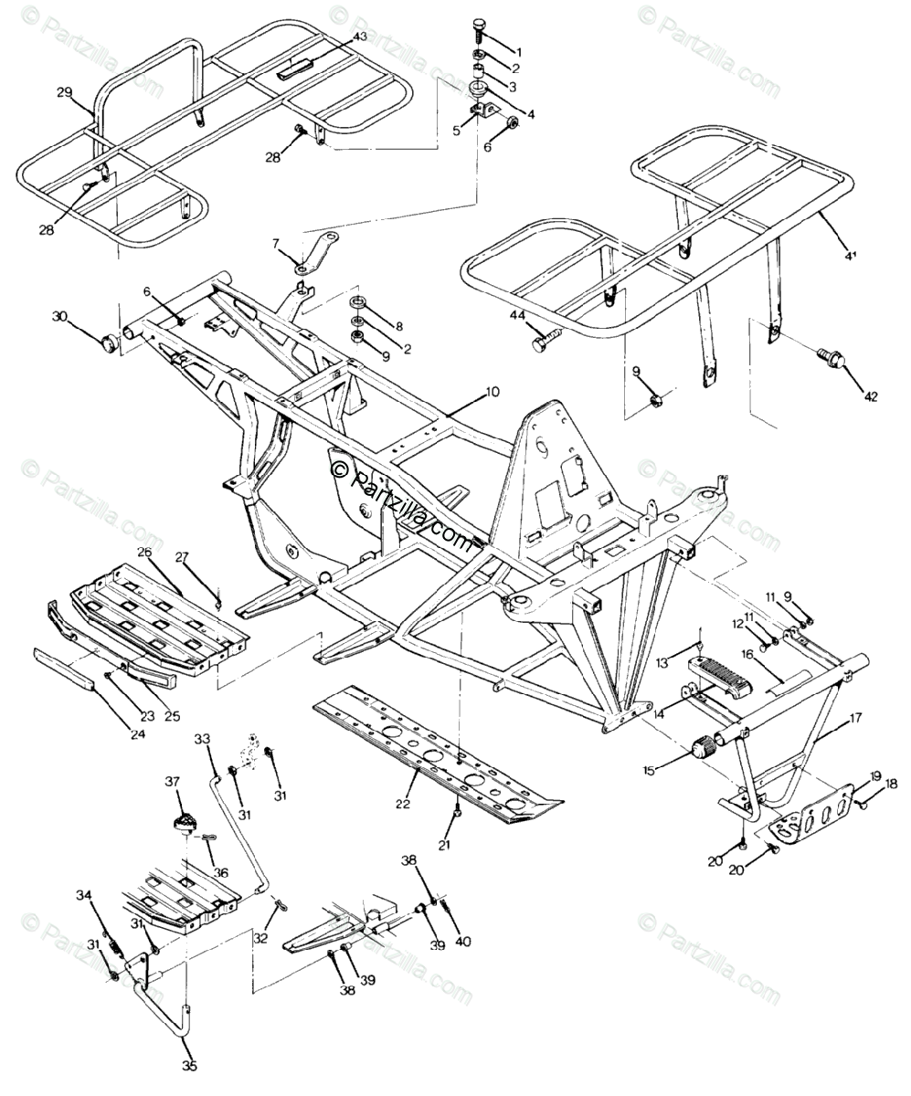 Polaris ATV 1990 OEM Parts Diagram for Frame Assembly With