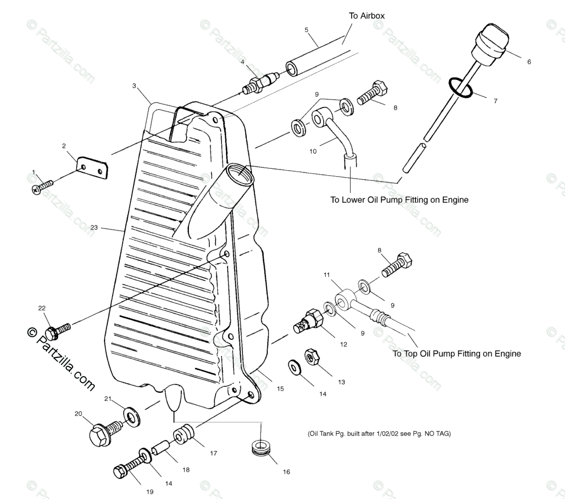 Polaris ATV 2002 OEM Parts Diagram for Oil Tank