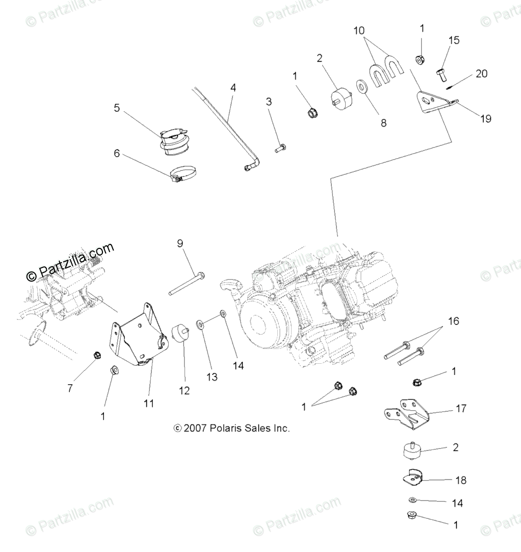 Polaris ATV 2009 OEM Parts Diagram for Engine Mounting