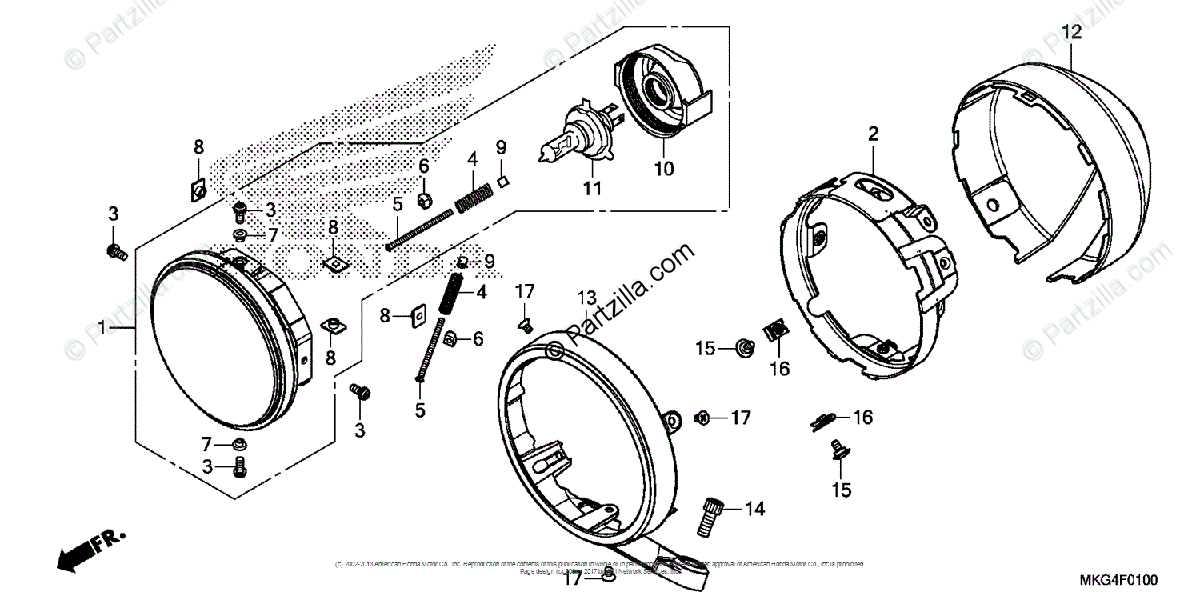 Honda Motorcycle 2017 OEM Parts Diagram for Headlight