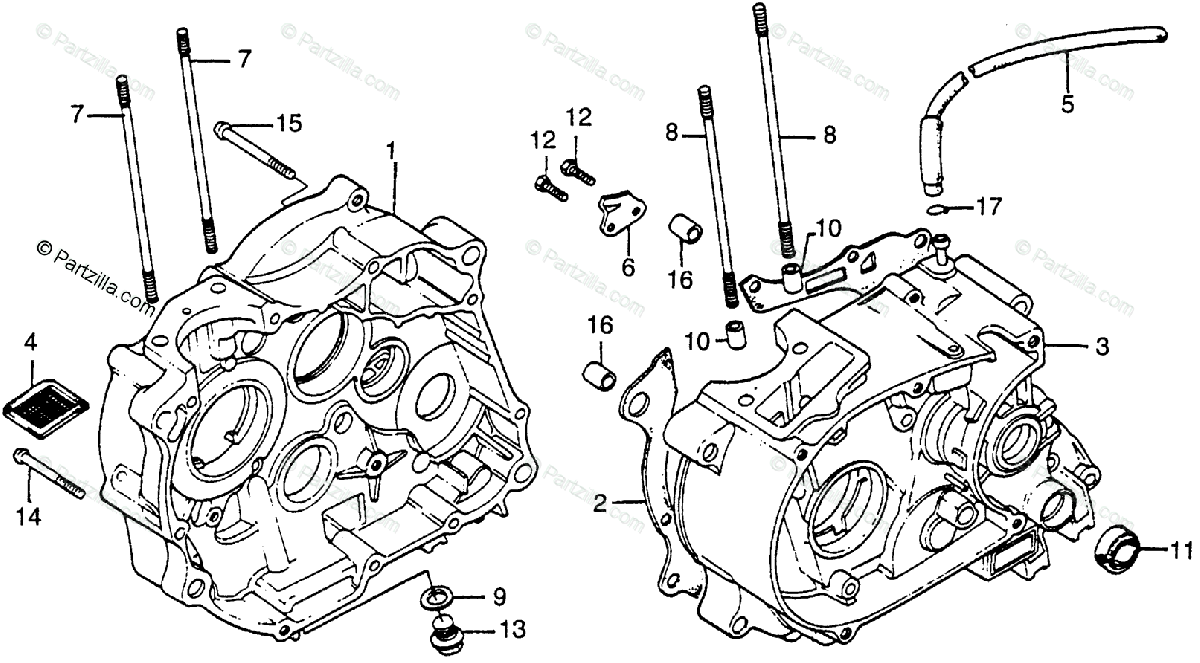 Honda Motorcycle 1984 OEM Parts Diagram for Crankcase