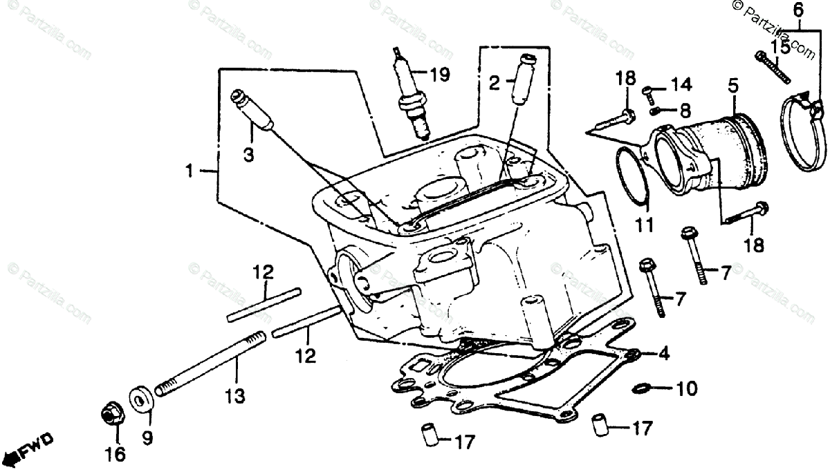 Honda Motorcycle 1983 OEM Parts Diagram for Right Cylinder