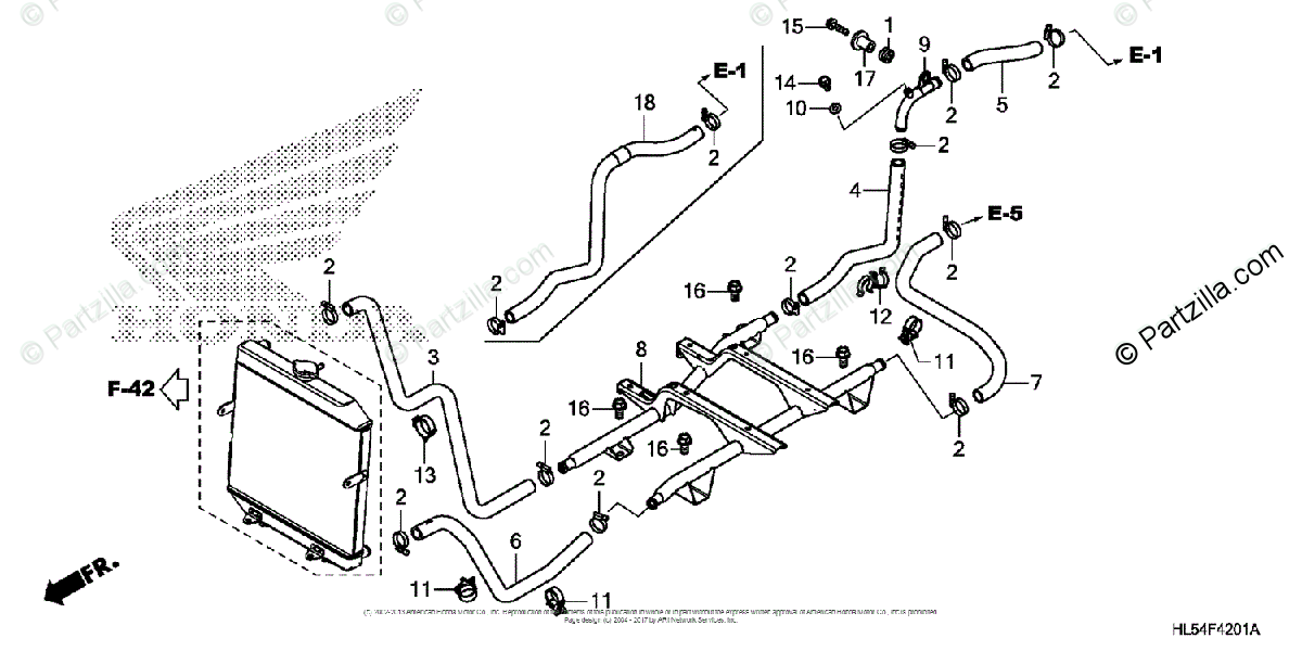 Honda Side by Side 2015 OEM Parts Diagram for Water Pipe