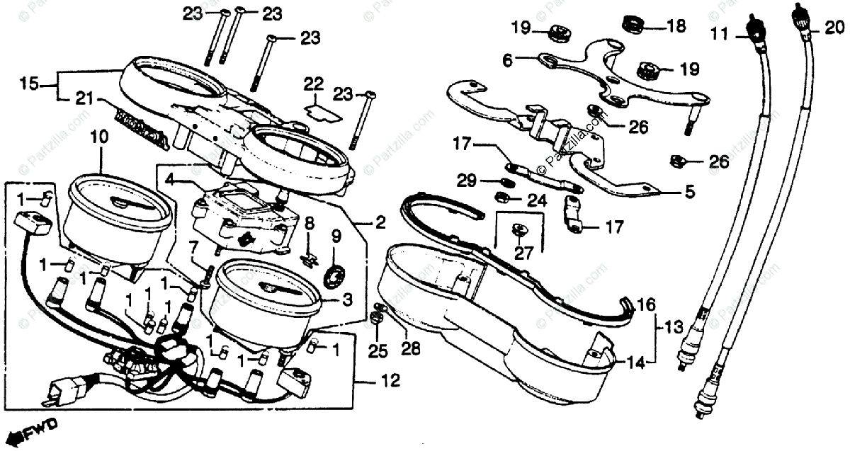Honda Motorcycle 1980 OEM Parts Diagram for Speedometer