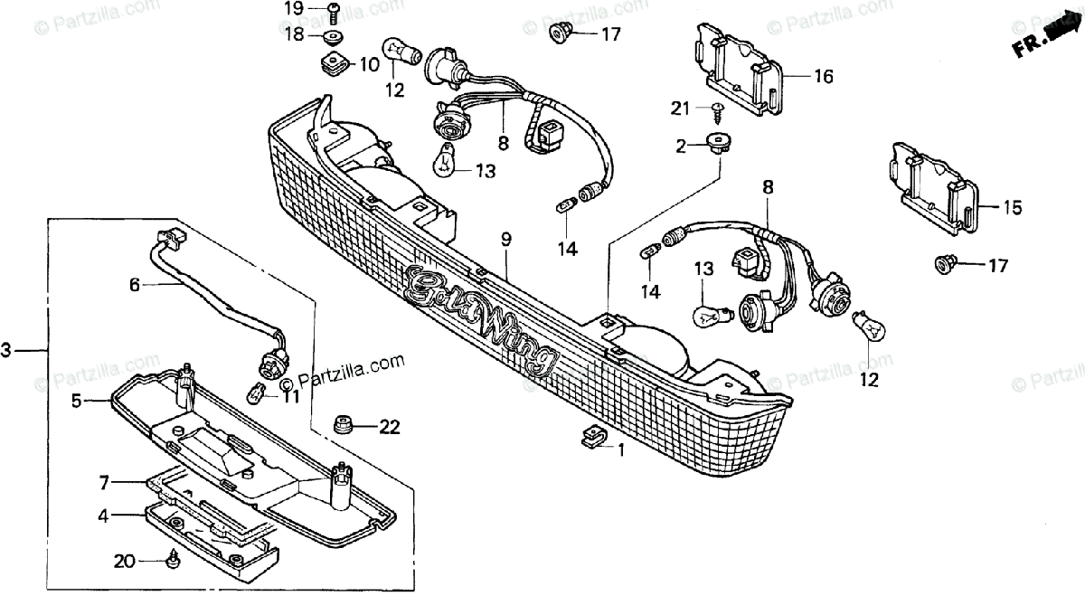 Honda Motorcycle 1997 OEM Parts Diagram for Trunk Light