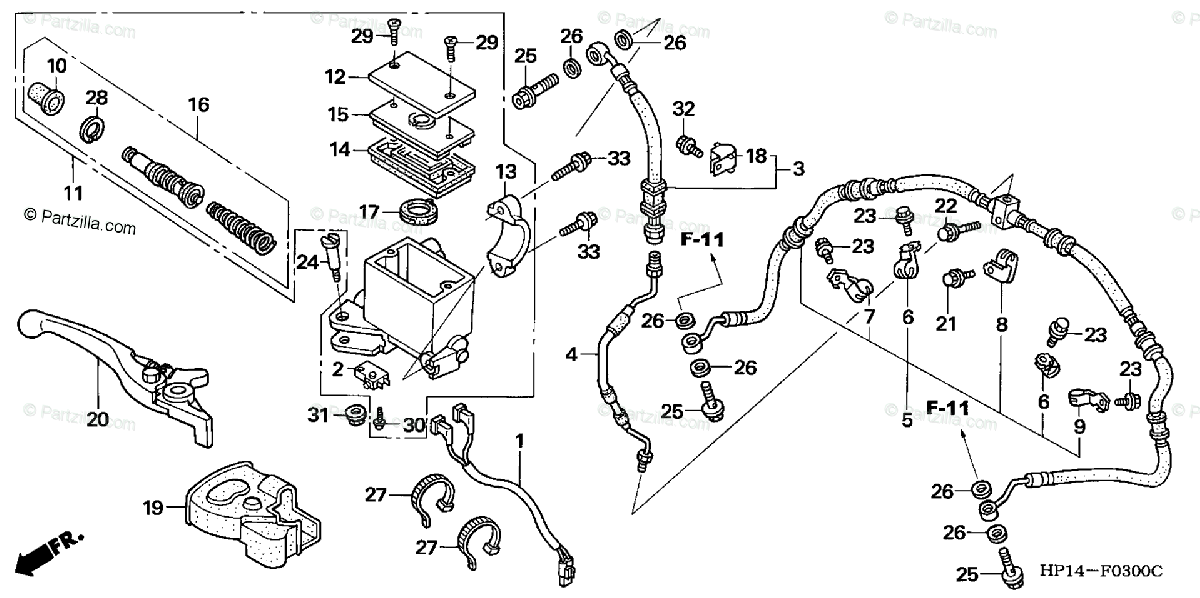 Honda ATV 2005 OEM Parts Diagram for Front Brake Master