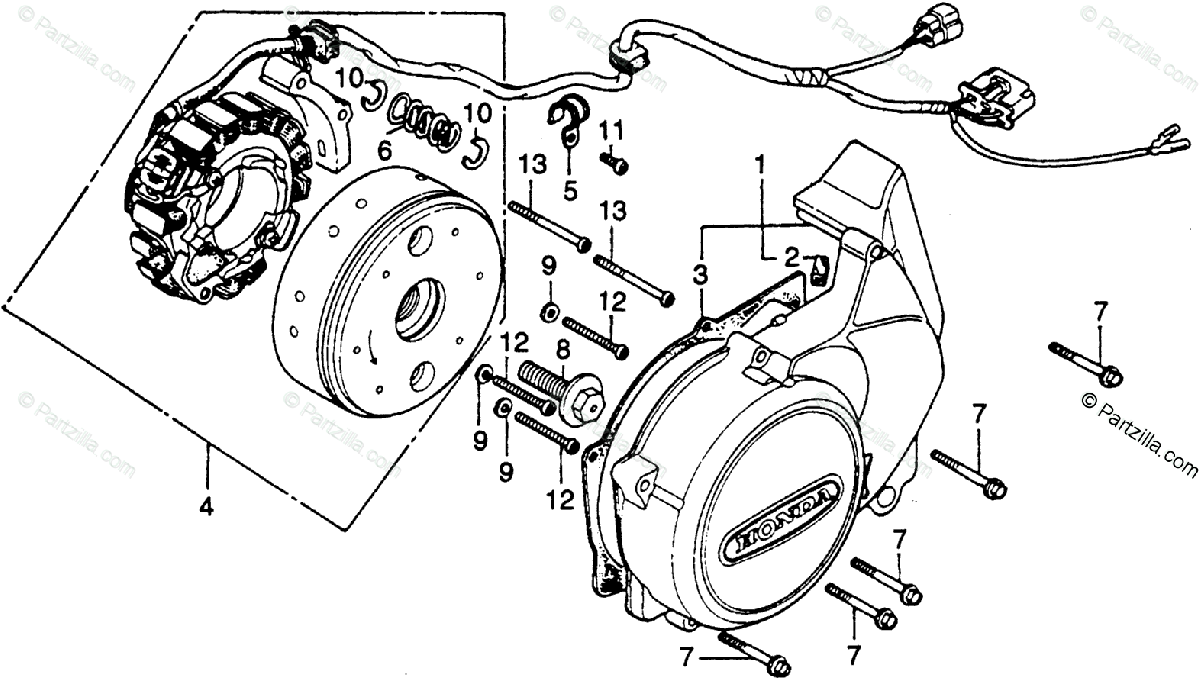 Honda Motorcycle 1979 OEM Parts Diagram for Left Crankcase