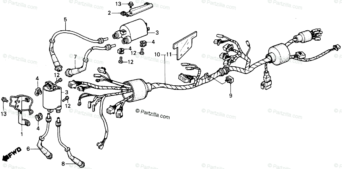 Honda Motorcycle 1987 OEM Parts Diagram for Wire Harness