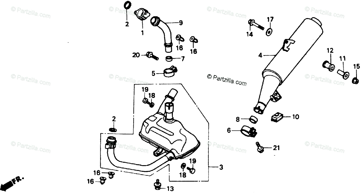 Honda Motorcycle 1989 OEM Parts Diagram for Muffler