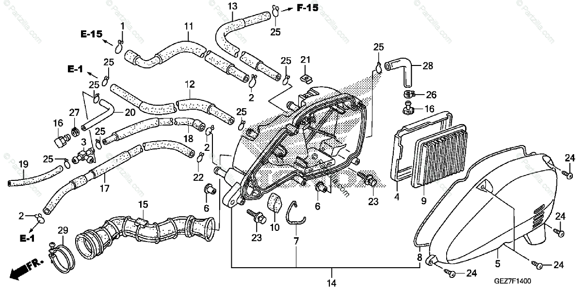 Honda Scooter 2009 OEM Parts Diagram for Air Cleaner
