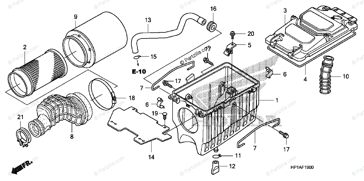 Honda ATV 2009 OEM Parts Diagram for Air Cleaner