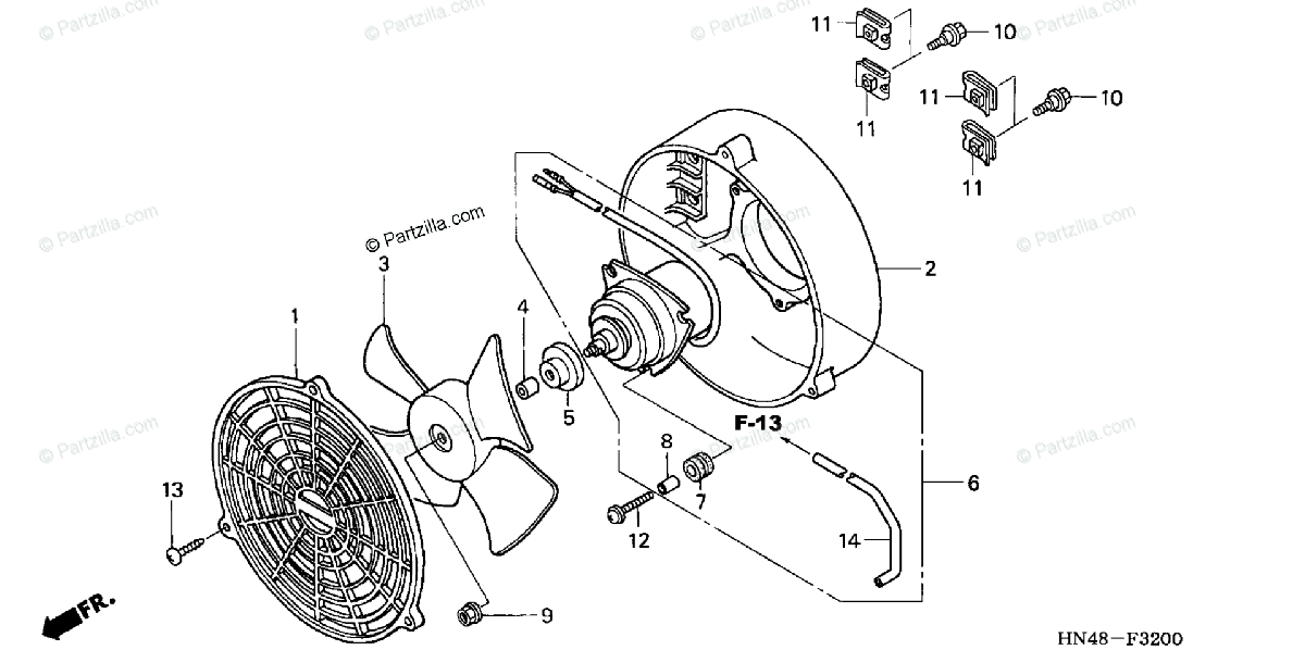 Honda ATV 2005 OEM Parts Diagram for Cooling Fan