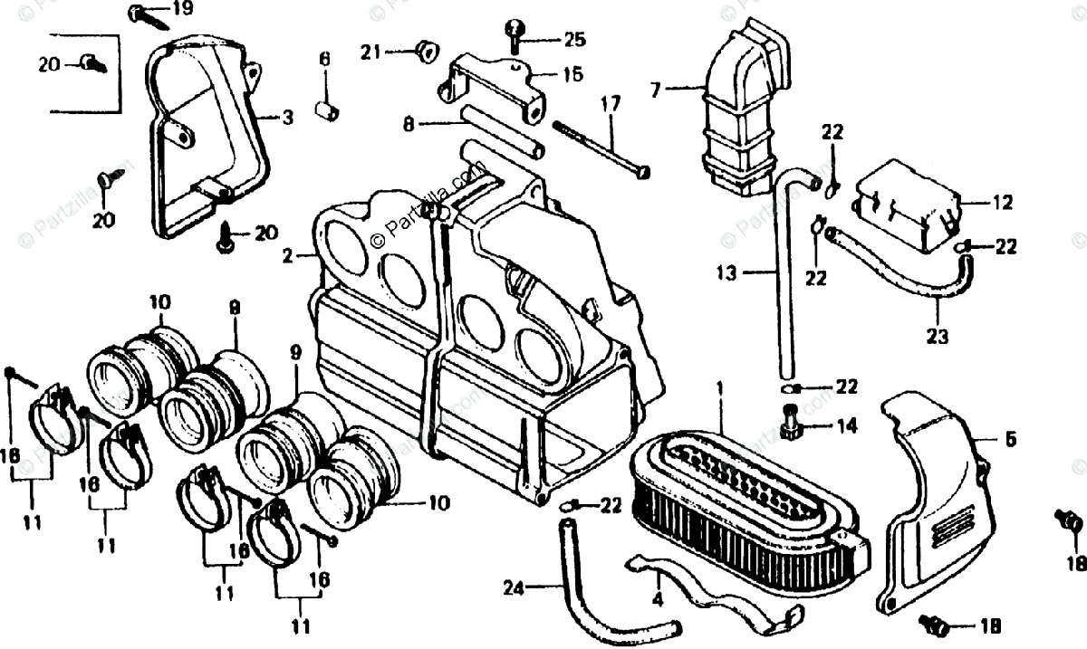 Honda Motorcycle 1981 OEM Parts Diagram for Air Cleaner