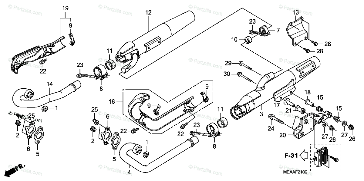 Honda Motorcycle 2008 OEM Parts Diagram for Exhaust
