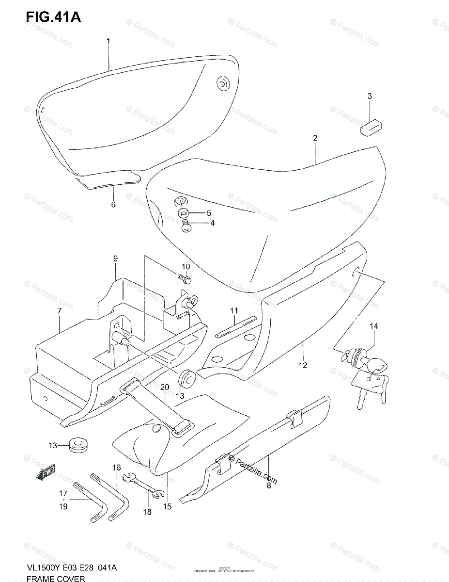 Suzuki Motorcycle 1998 OEM Parts Diagram for FRAME COVER