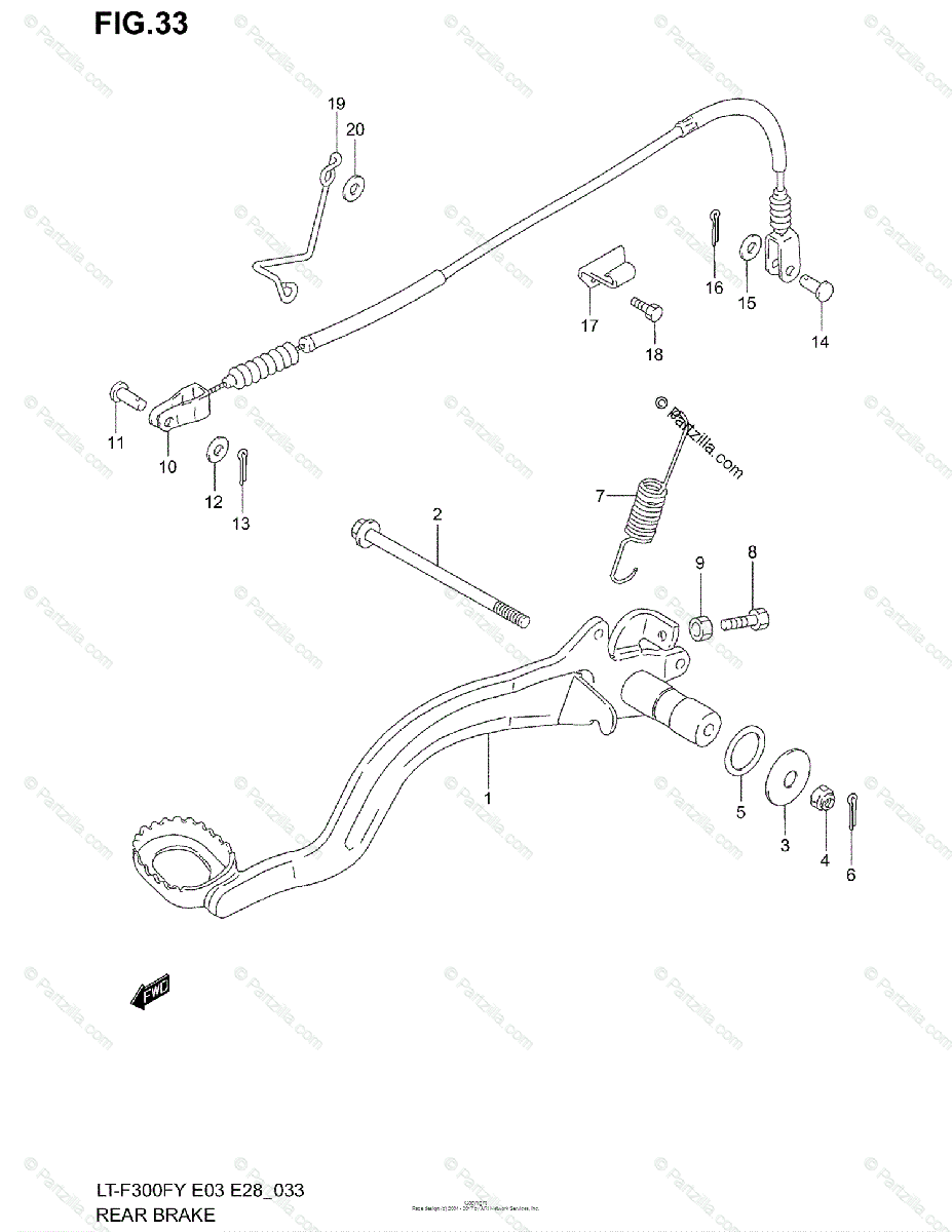 Suzuki ATV 2002 OEM Parts Diagram for Rear Brake