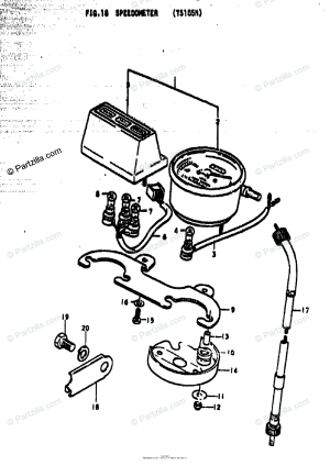 Suzuki Motorcycle 1977 OEM Parts Diagram for SPEEDOMETER (TS185N) | Partzilla