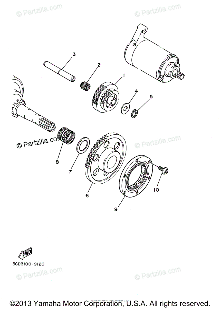 Yamaha ATV 2002 OEM Parts Diagram for STARTER CLUTCH
