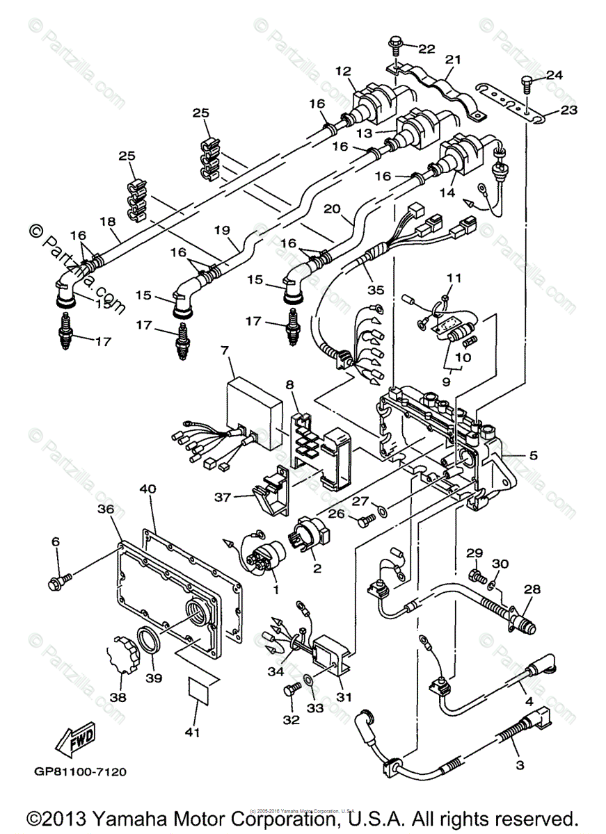Yamaha Waverunner 1997 OEM Parts Diagram for Electrical
