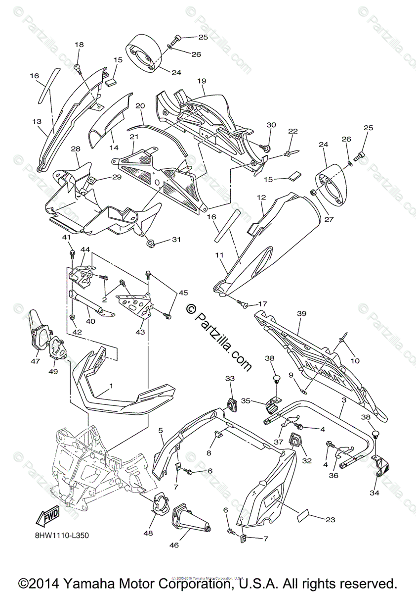 Yamaha Snowmobile 2015 OEM Parts Diagram for Bumper