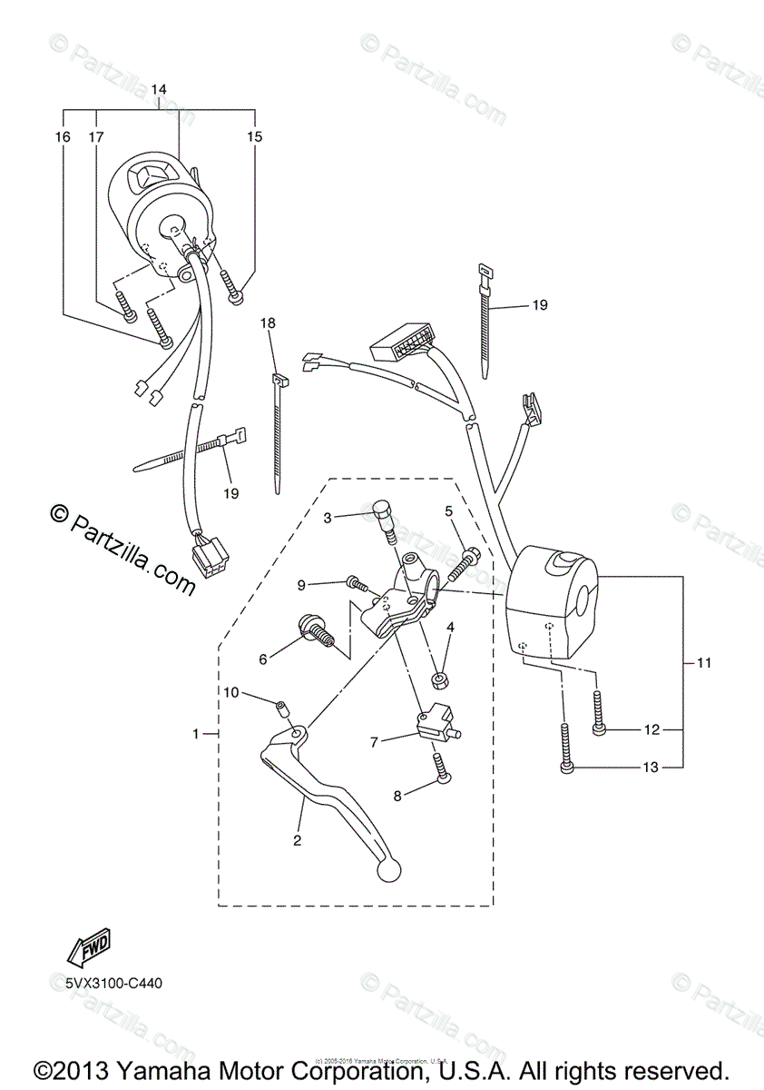 Yamaha Motorcycle 2004 OEM Parts Diagram for Handle Switch