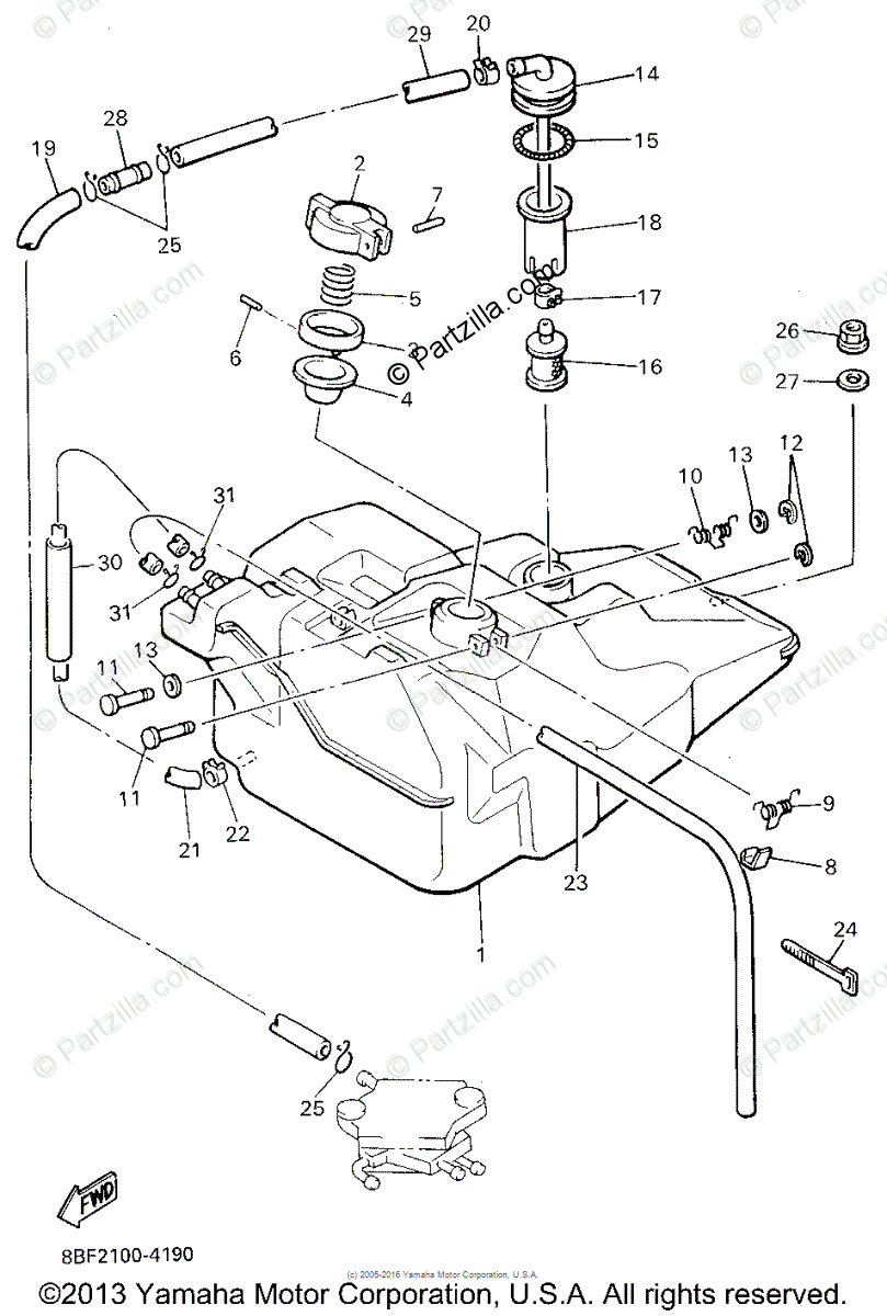 Yamaha Snowmobile 1995 OEM Parts Diagram for FUEL TANK