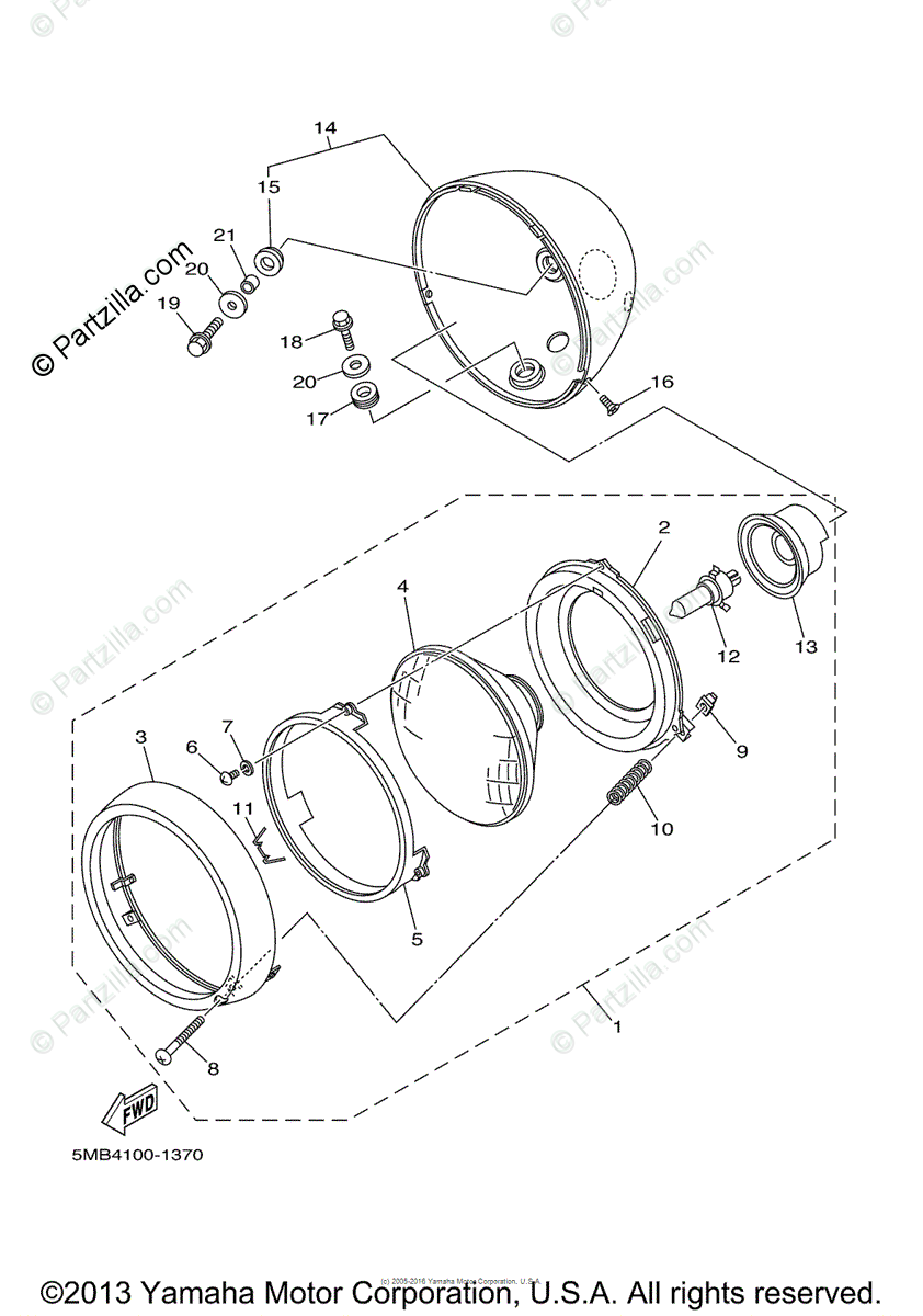 Yamaha Motorcycle 2003 OEM Parts Diagram for Headlight