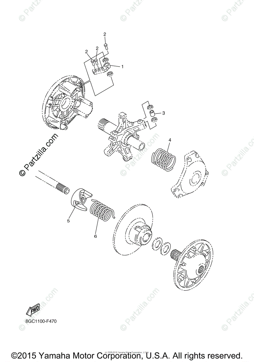 Yamaha Snowmobile 2011 OEM Parts Diagram for Alternate