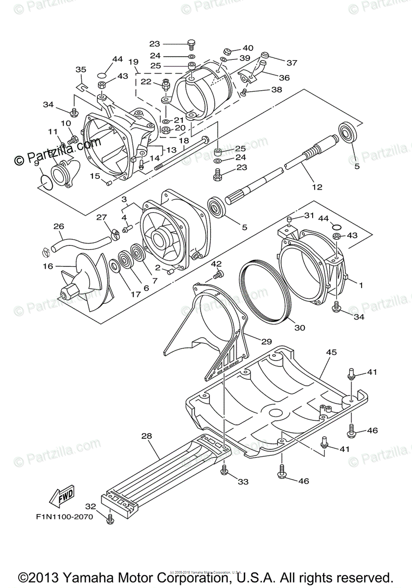 Yamaha Waverunner 2004 OEM Parts Diagram for Jet Unit 1