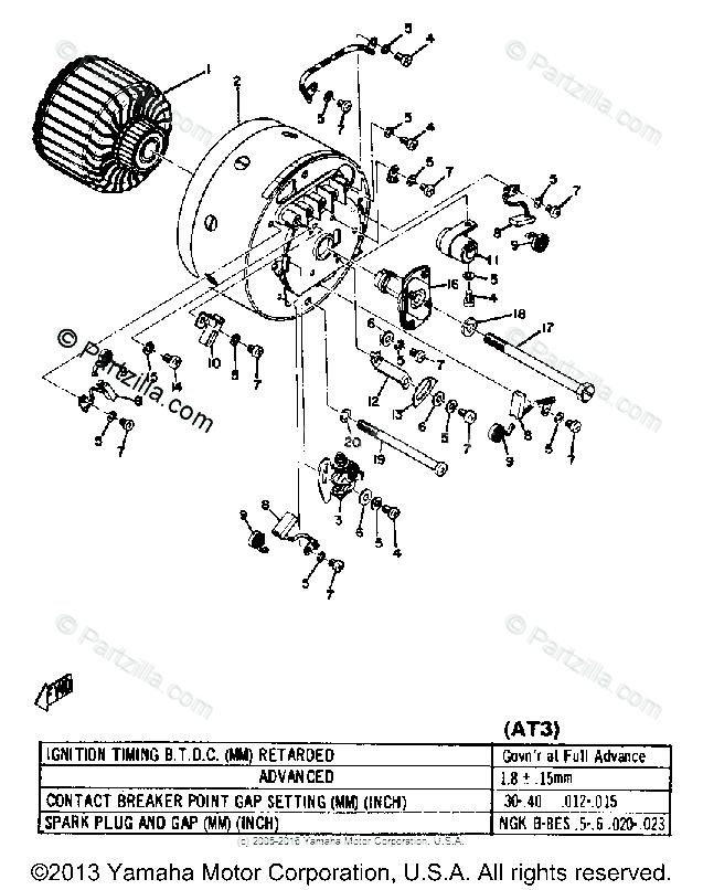 Yamaha Motorcycle 1972 OEM Parts Diagram for STARTER