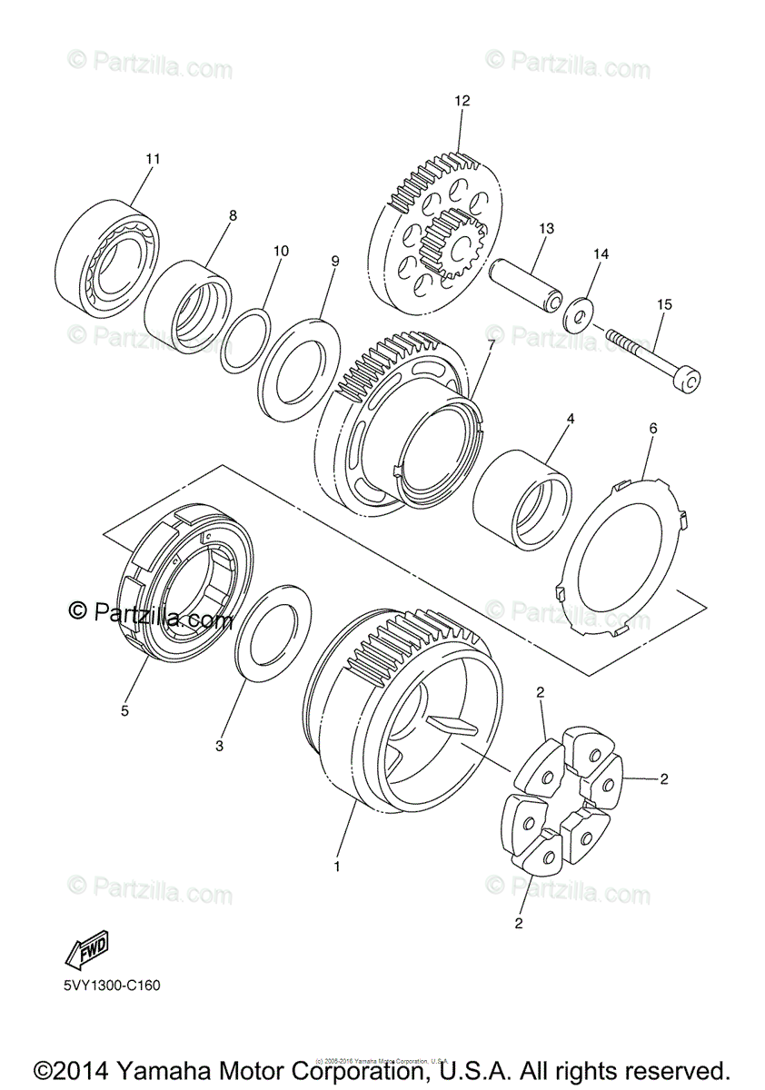 Yamaha Motorcycle 2004 OEM Parts Diagram for Starter