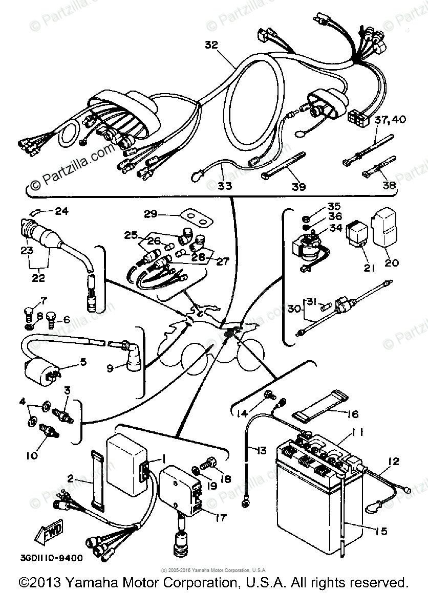 diagram of yamaha atv parts 1989 warrior yfm350xw electrical 1