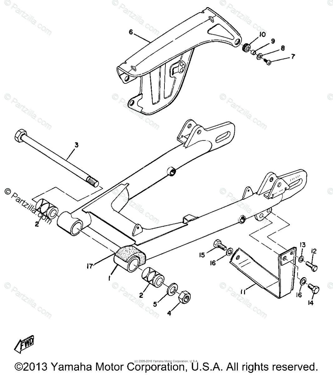 Yamaha Motorcycle Oem Parts Diagram For Rear Arm