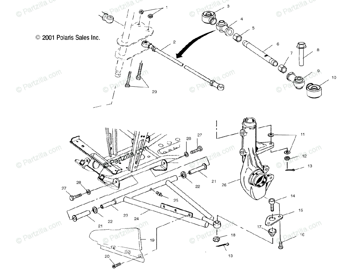 Polaris ATV 2002 OEM Parts Diagram for Aarm/Strut Mounting