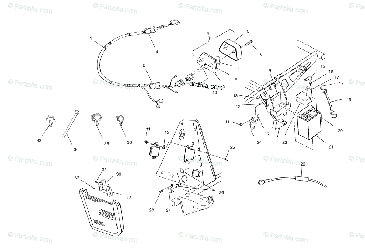 Polaris ATV 2002 OEM Parts Diagram for Electrical