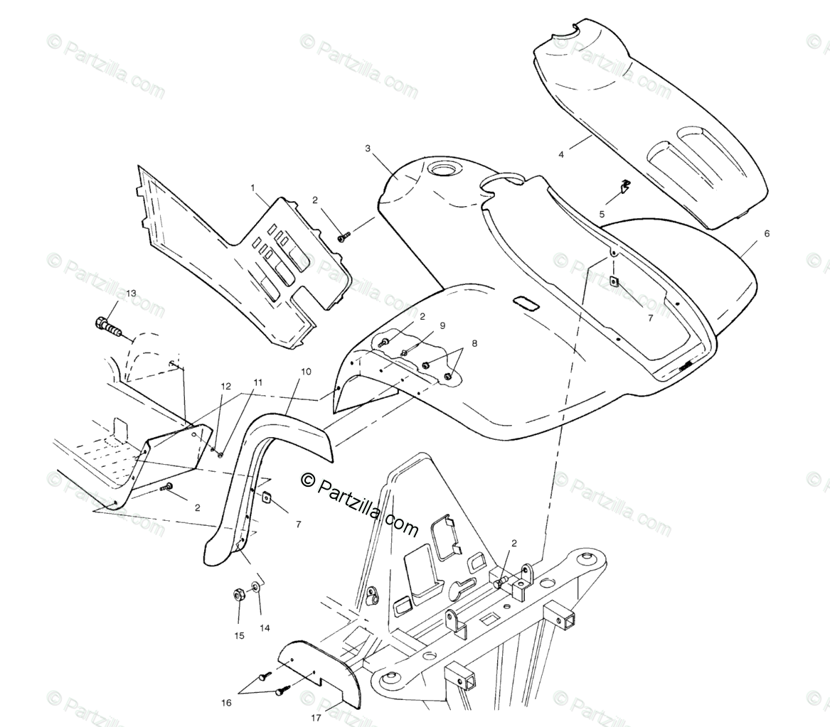 Polaris ATV 2001 OEM Parts Diagram for Front Cab A01cd32aa
