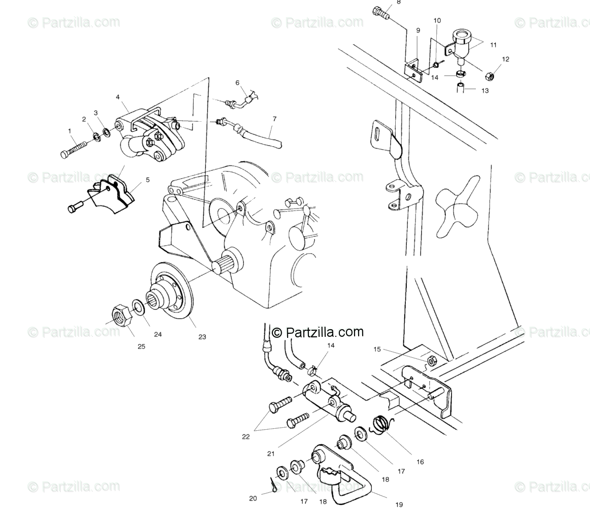 Polaris ATV 1999 OEM Parts Diagram for Rear Brake/Foot