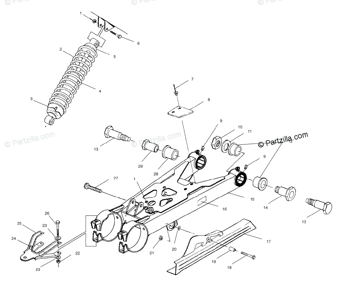 Polaris ATV 2001 OEM Parts Diagram for Swing Arm/Shock