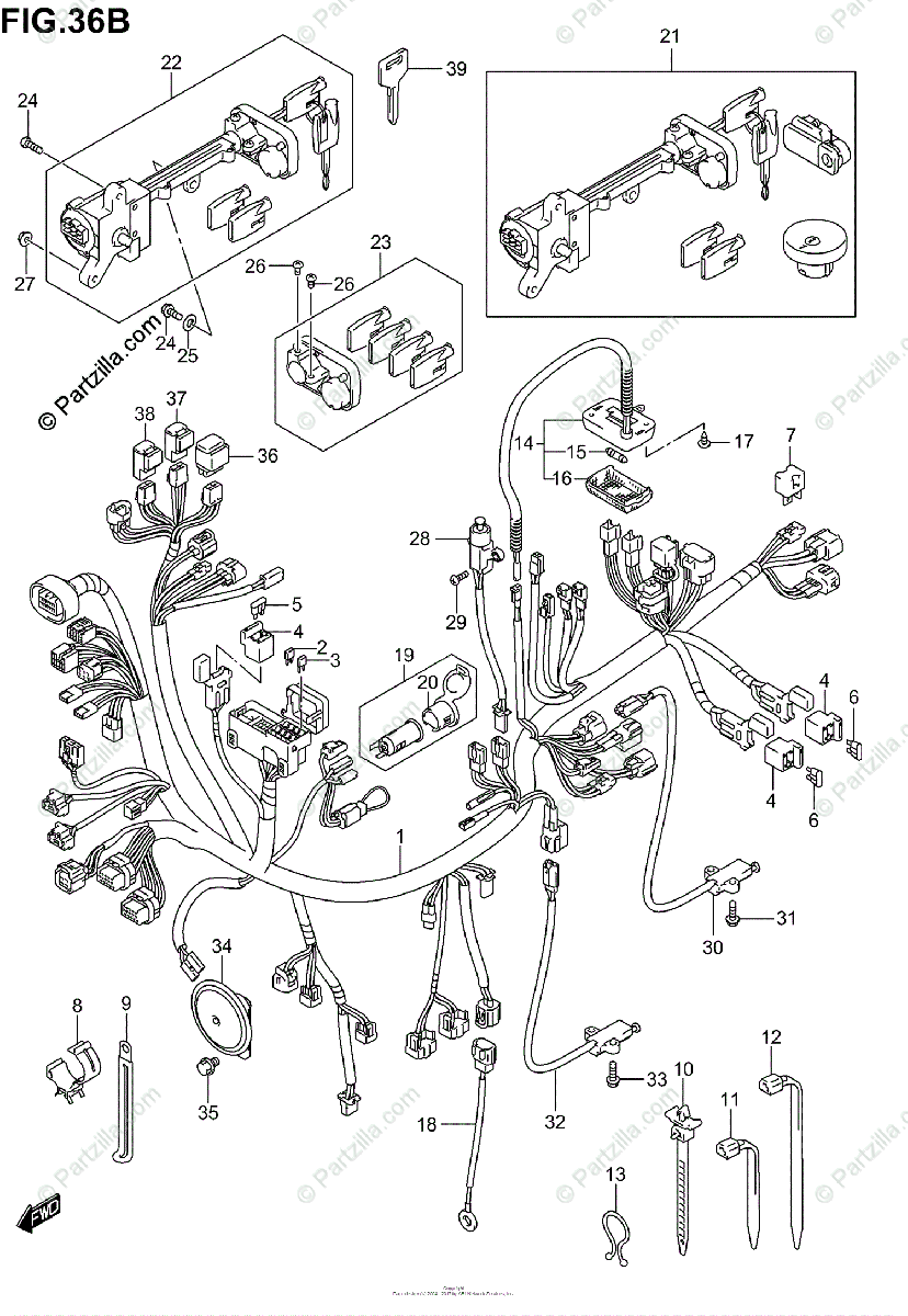 Suzuki Scooters 2005 OEM Parts Diagram for Wiring Harness