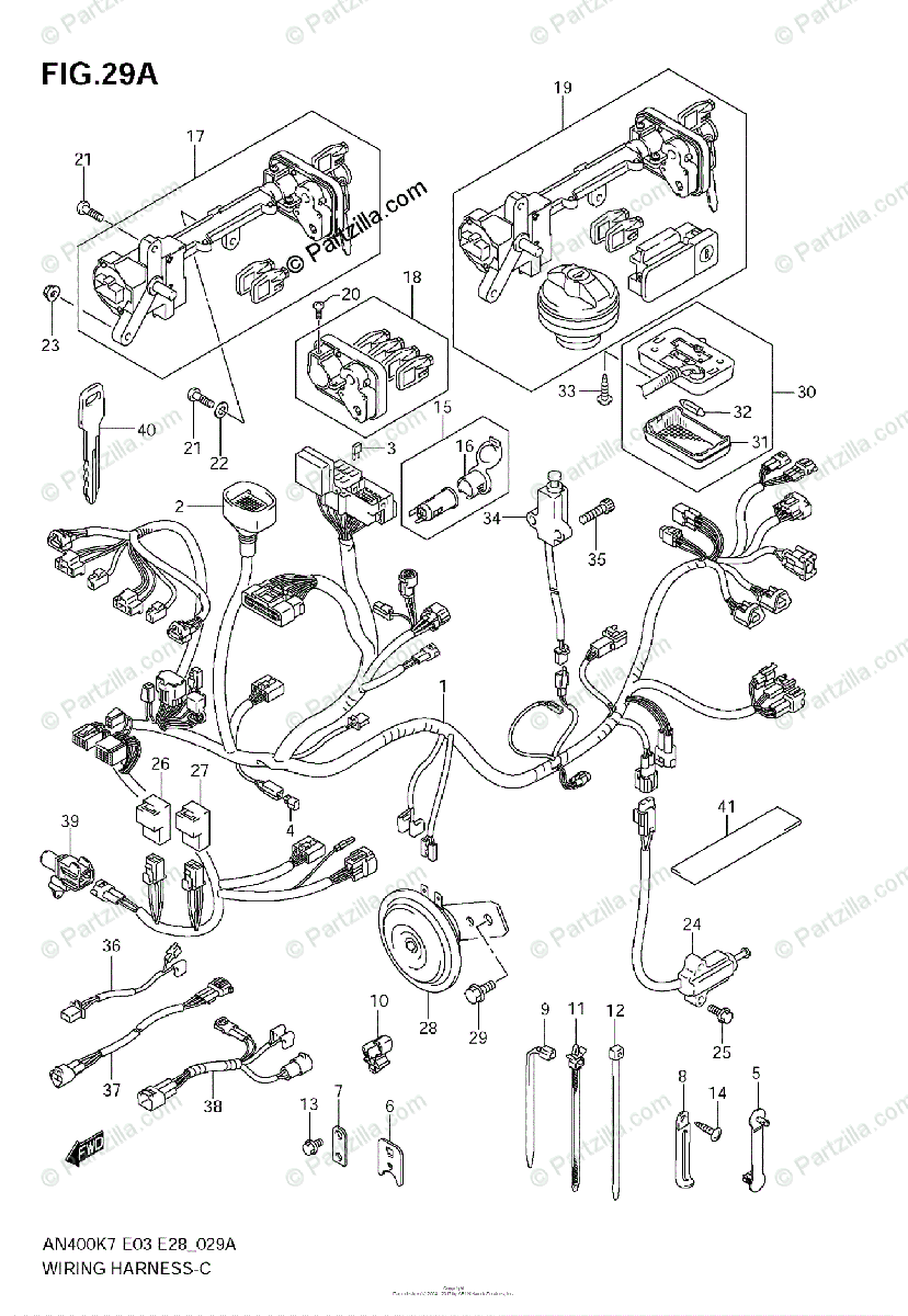 Suzuki Scooters 2009 OEM Parts Diagram for Wiring Harness