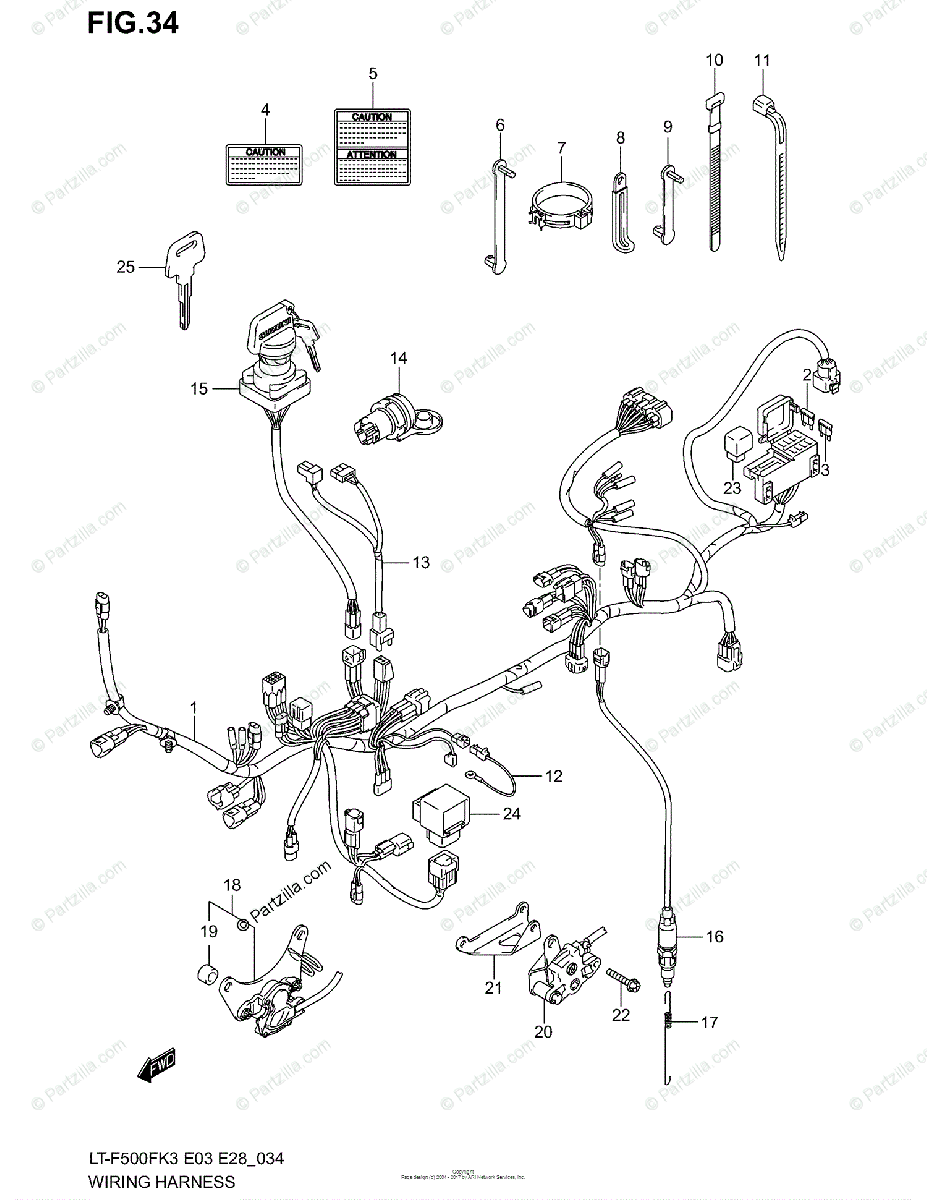 Suzuki ATV 2003 OEM Parts Diagram for Wiring Harness