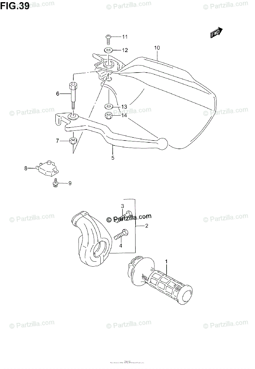 Suzuki Motorcycle 2005 OEM Parts Diagram for Right Handle