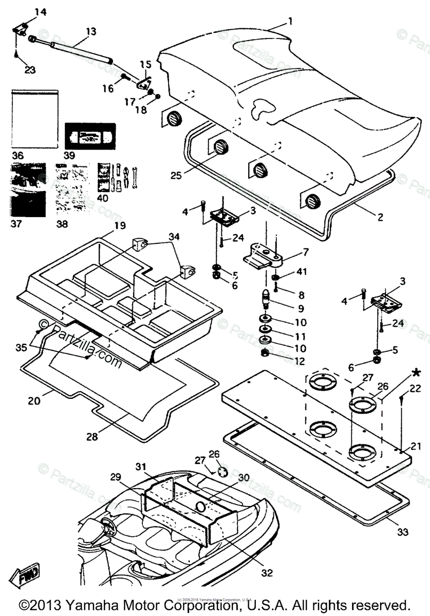 Yamaha Boat 1996 OEM Parts Diagram for Deck Hatch 1