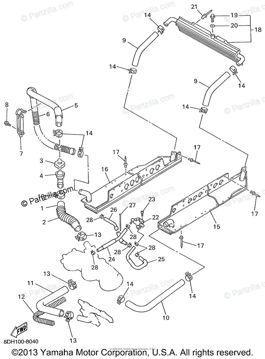Yamaha Snowmobile 1999 OEM Parts Diagram for Radiator Hose